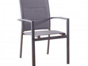 ריהוט גן דגם כסא אלומיניום אפור עם ספוג