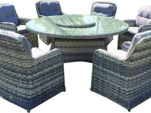 Liberated 0436 שולחן ראטן + 8 כיסאות
