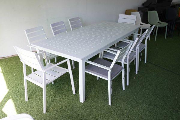 0419 שולחן נפתח 216-300 כולל 6 כיסאות מאלומיניום מלא