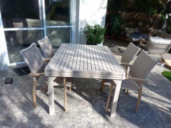 0420 שולחן נפתח 100 אלומיניום כולל 6 כיסאות מרופדים