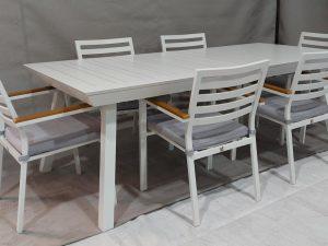 0402 Spread 216-300 כולל 6 כיסאות מאלומיניום מלא