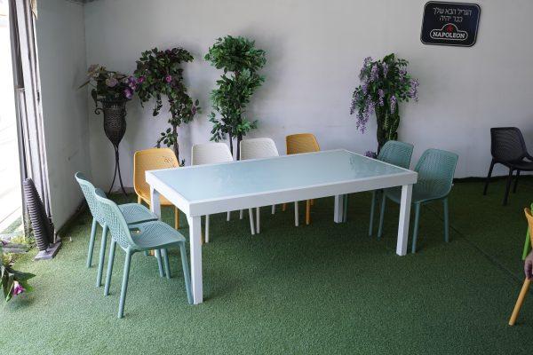 0449 מבצע אביב שולחן אלומיניום כולל 6 כיסאות צבעוניים