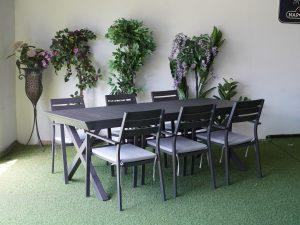 0423 שולחן 100 % אלומיניום רגלי X כולל 6 כיסאות מאלומיניום מלא